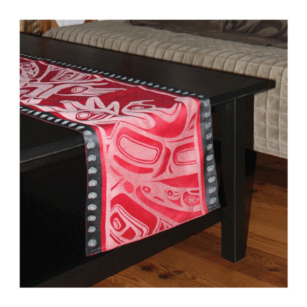 "Table Runner with Native Art Design ""Running Raven"""