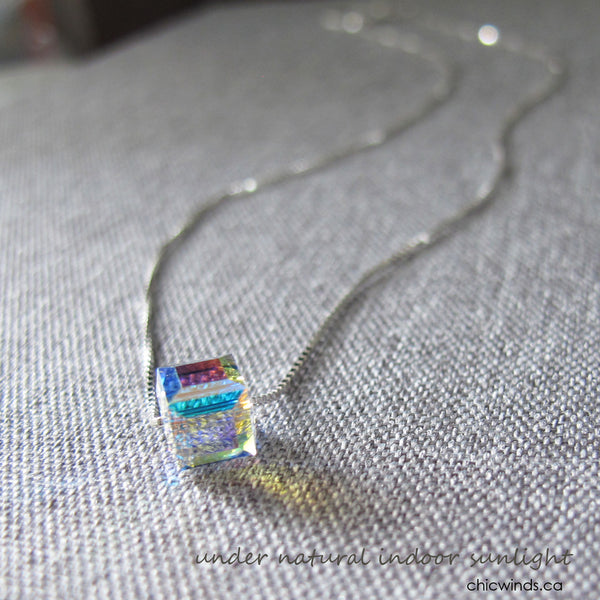 Swaroviski crystal cube sterling silver necklace