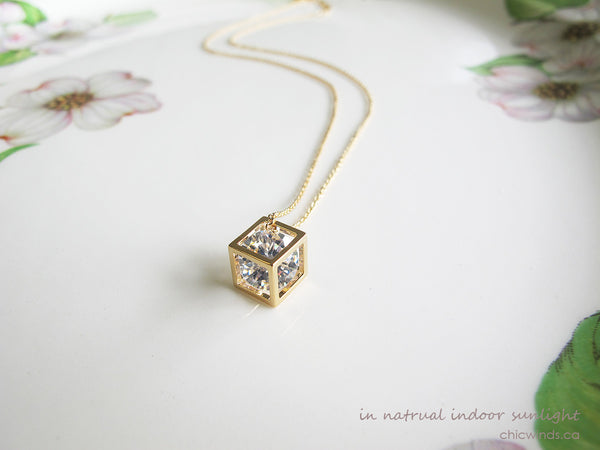 Delicate Crystal Cube Chain Neckalce