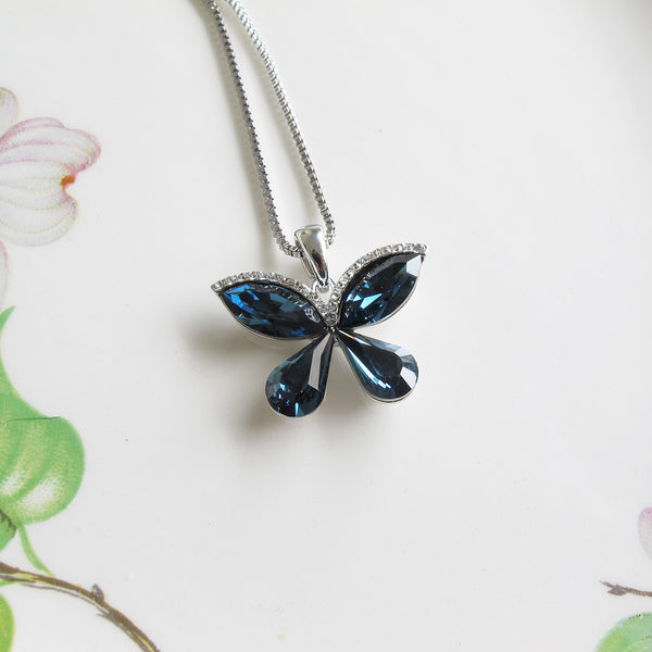 Blue Crystal Butterfly Long Necklace