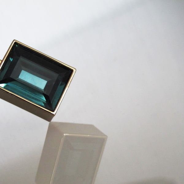 Architecture Inspired Cuboid Long Necklace (teal)