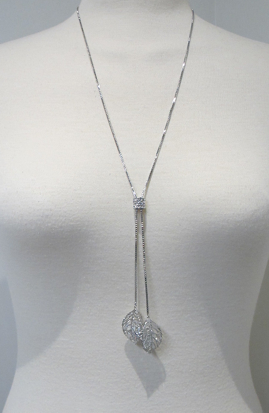 Crystal leaves long neckalce