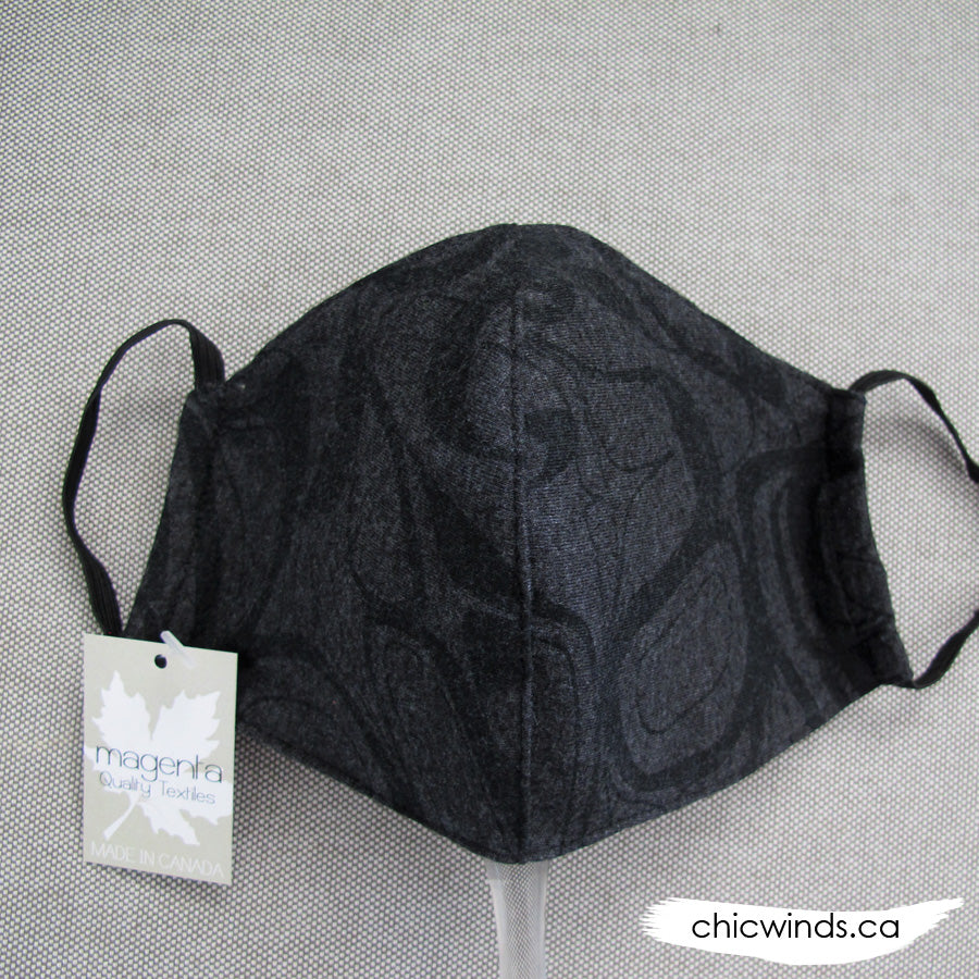 Whale Cotton Face Mask Charcoal