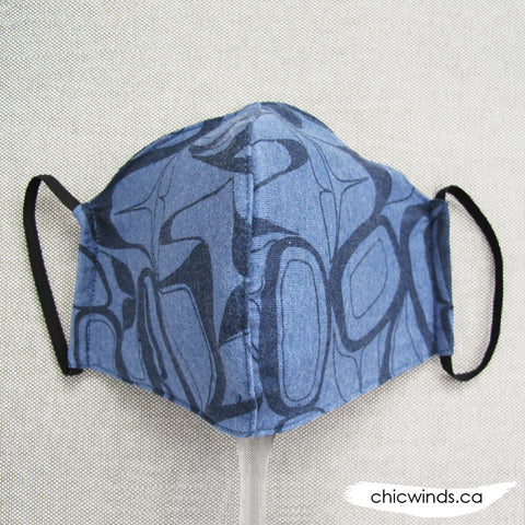 Raven Cotton Face Mask Blue