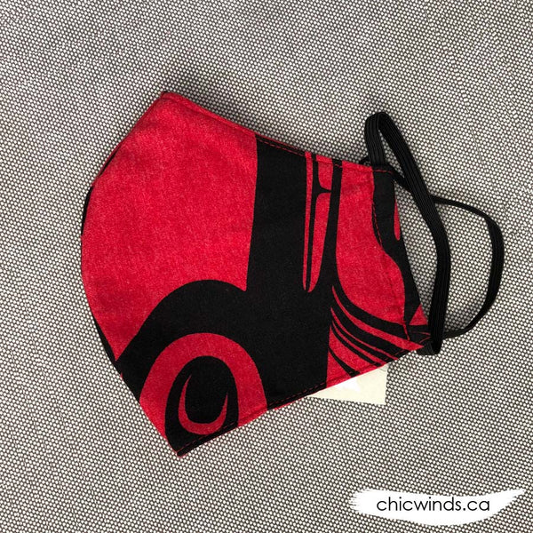 Whale Cotton Face Mask Red