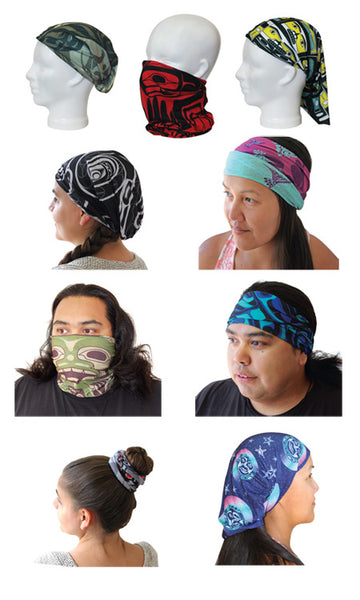 Multifunctional Headwear- Wolf and Raven