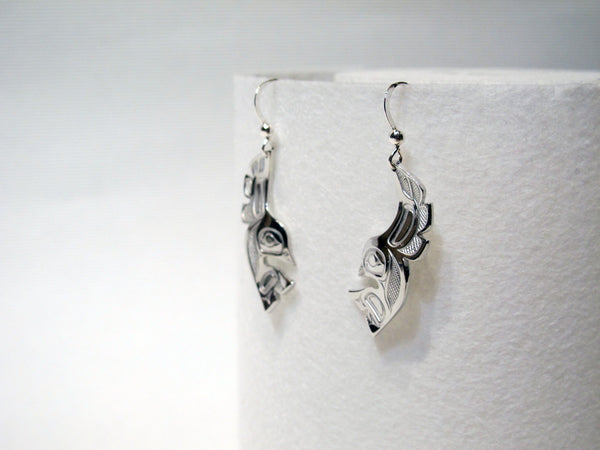Silver Pewter Lovebird Earrings