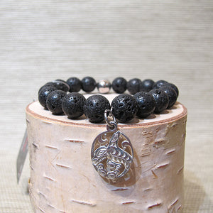 Lava Beads Bracelet with Frist Nation Art Charm - Ocar