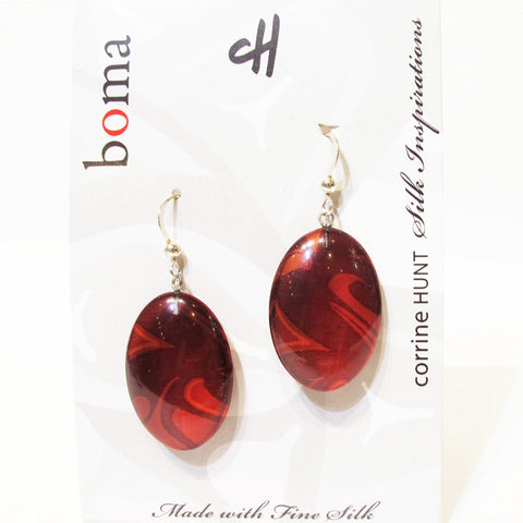 Corrine Hunt Silk Inspiration Oval Earrings Red