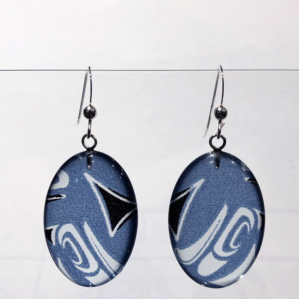 Corrine Hunt Silk Inspiration Oval Earrings Blue
