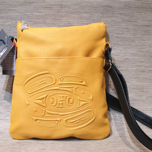 Leather embossed Solo Bag with a Raven Design - Yellow, Deer Skin
