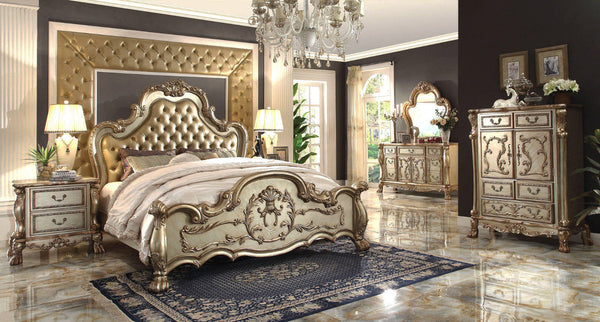 ACME Dresden Bone Gold Patina Bedroom Set