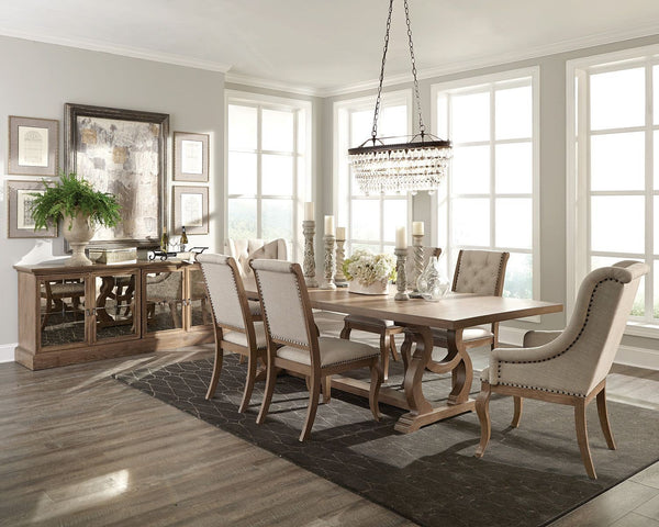 COASTER Upholstered Dining Set with Trestle Table