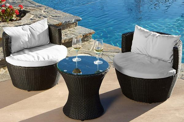 Black Wicker Chat Set - 3 Piece Set