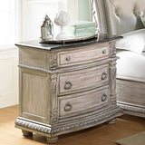 Palace II Collection Sleigh Bedroom Set in Whitewash - Night Stand