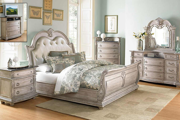 Palace II Collection Sleigh Bedroom Set in Whitewash