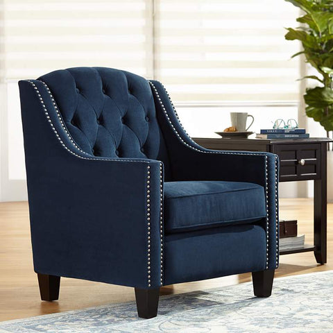 "KENSEY ""Villaggio"" Dark Navy Velvet Tufted Armchair"