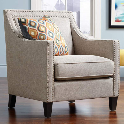 "BELMONT ""Fleming"" Linen Look Upholstered Armchair"