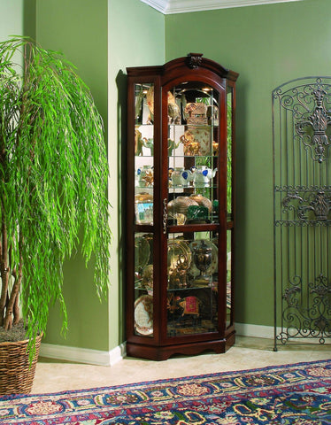 Pulaski Medallion Royal Cherry Corner Curio Cabinet