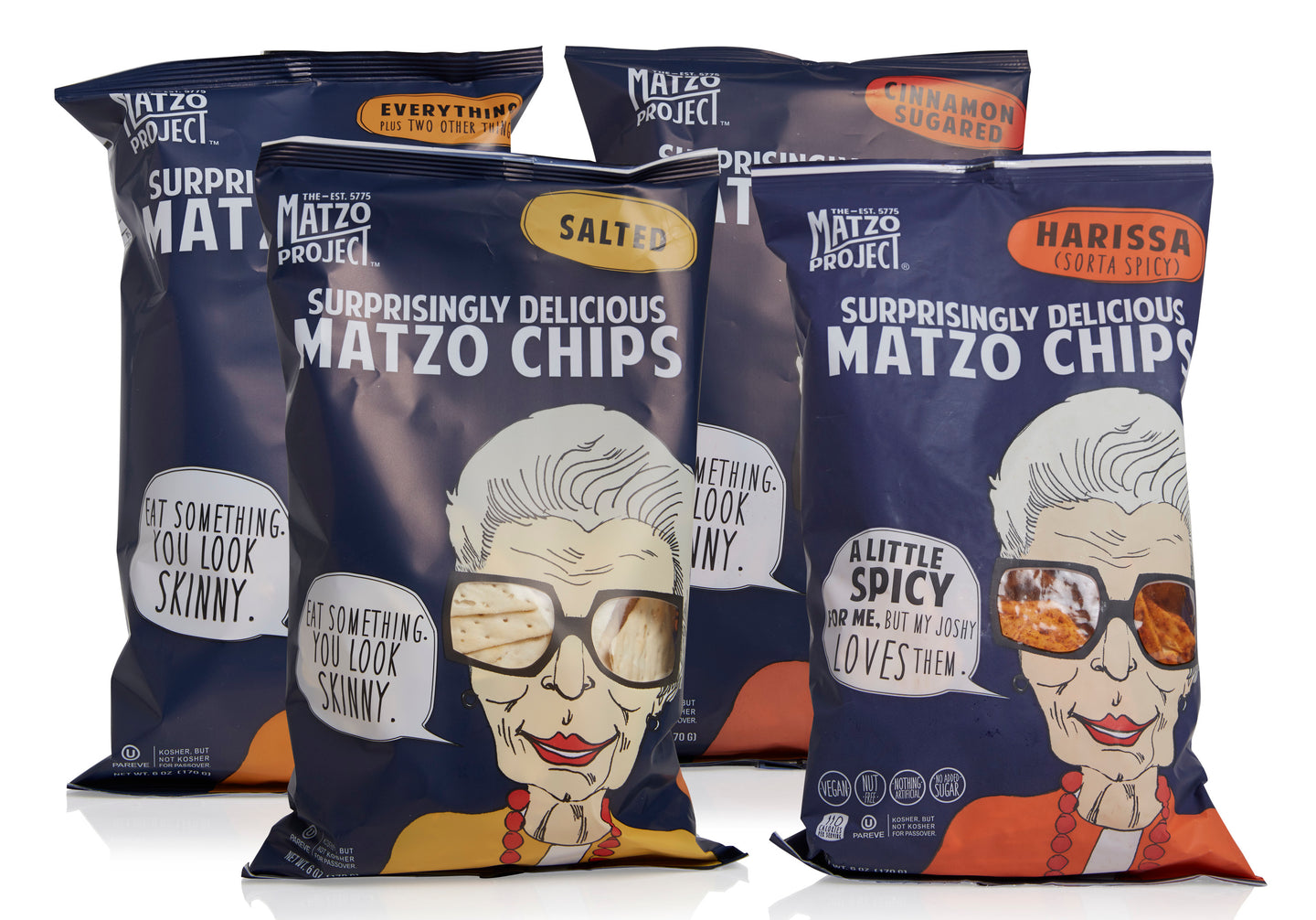 Matzo Chips, Variety Pack of Large Bags (Everything, Salted, Cinnamon Sugared, Harissa) from The Matzo Project, Kosher, Vegan, Nut-Free, No Trans Fat, Nothing Artificial, 6oz, Pack of 12