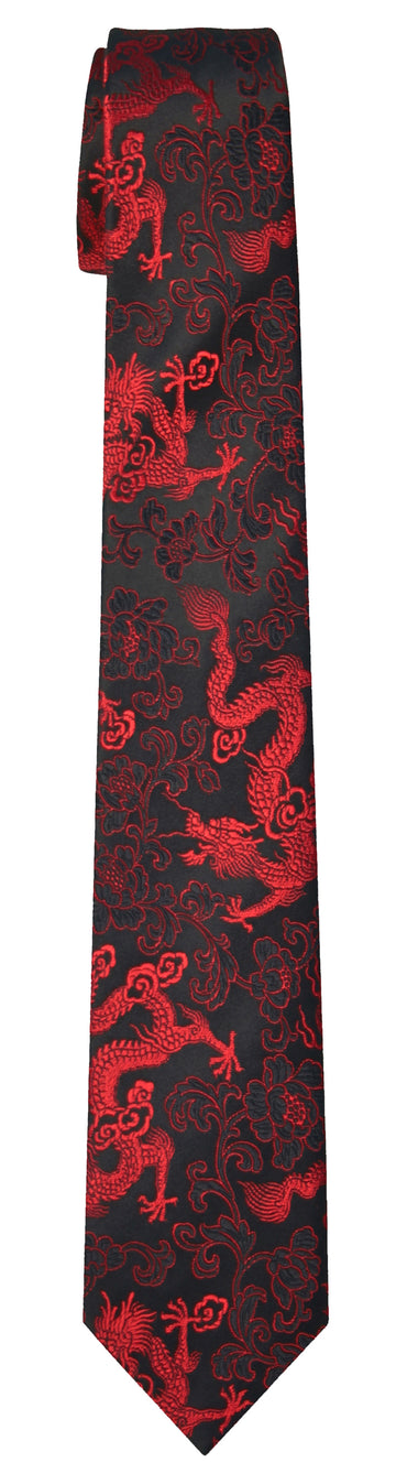 Mimi Fong Dragon Tie in Black & Red
