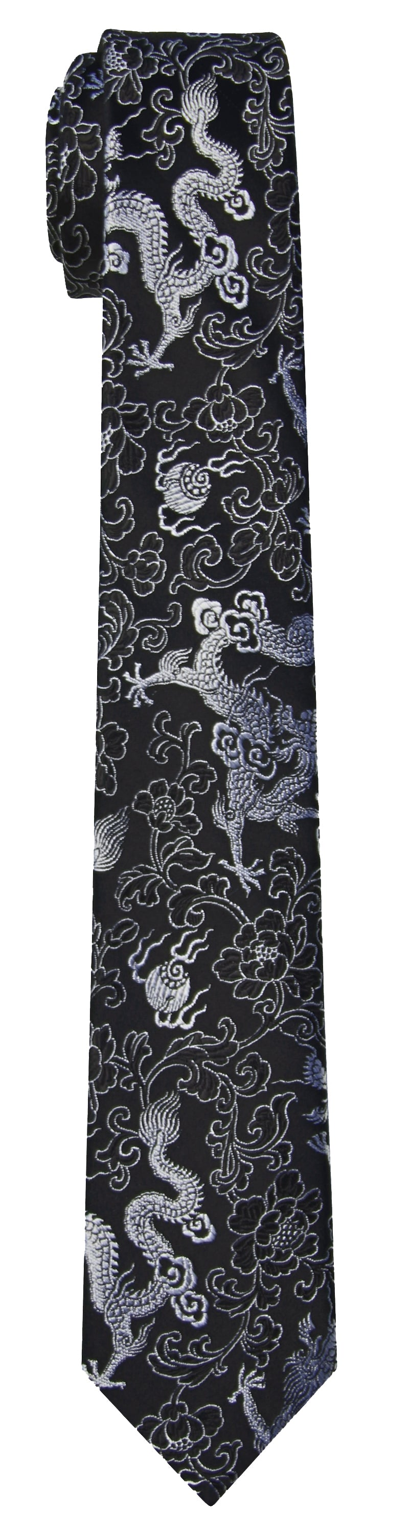Mimi Fong Dragon Tie in Black & White