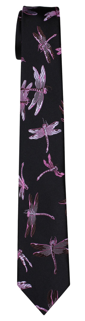 Mimi Fong Dragonfly Tie in Black & Pink