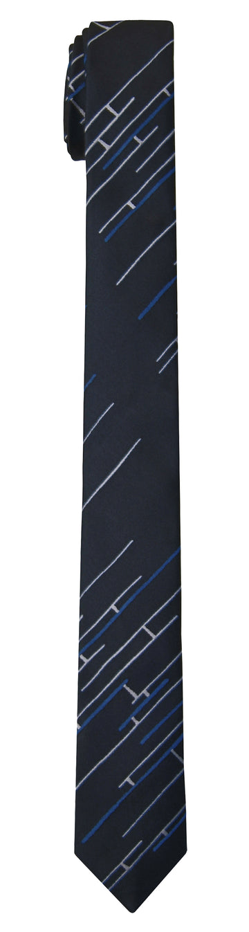 Mimi Fong Skinny Linked Tie in Navy
