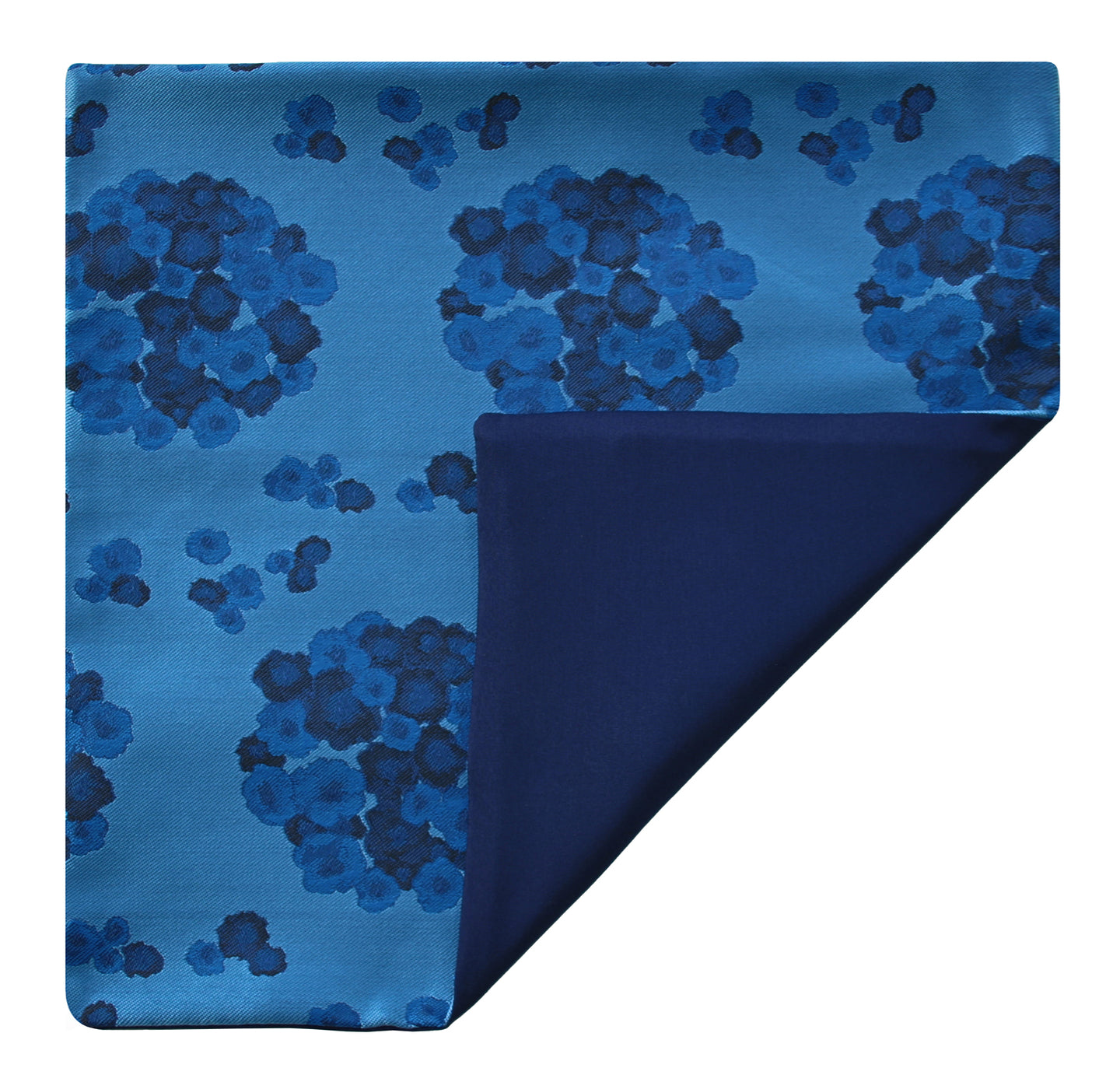 Mimi Fong Reversible Silk Pocket Square in Lantana Blue