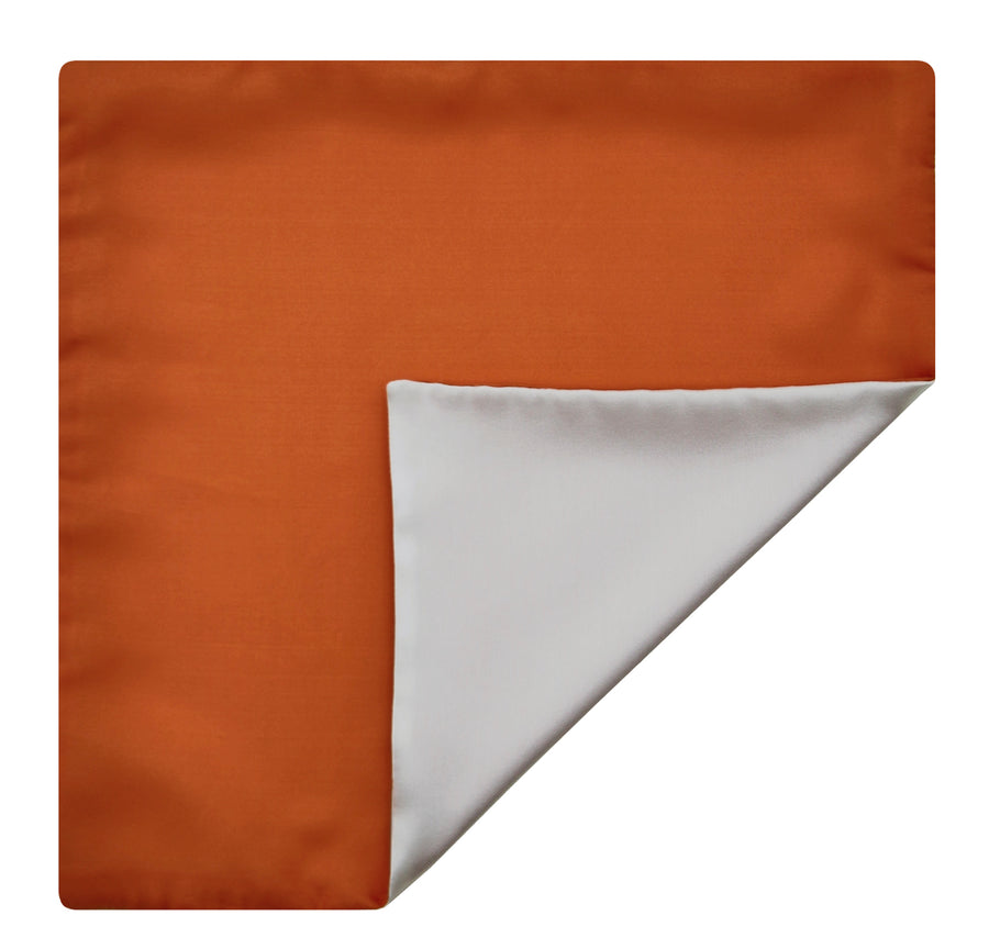 Mimi Fong Reversible Silk Pocket Square in Orange & White