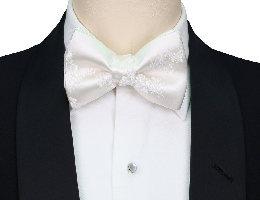Mimi Fong Cherry Blossom Bow Tie in White