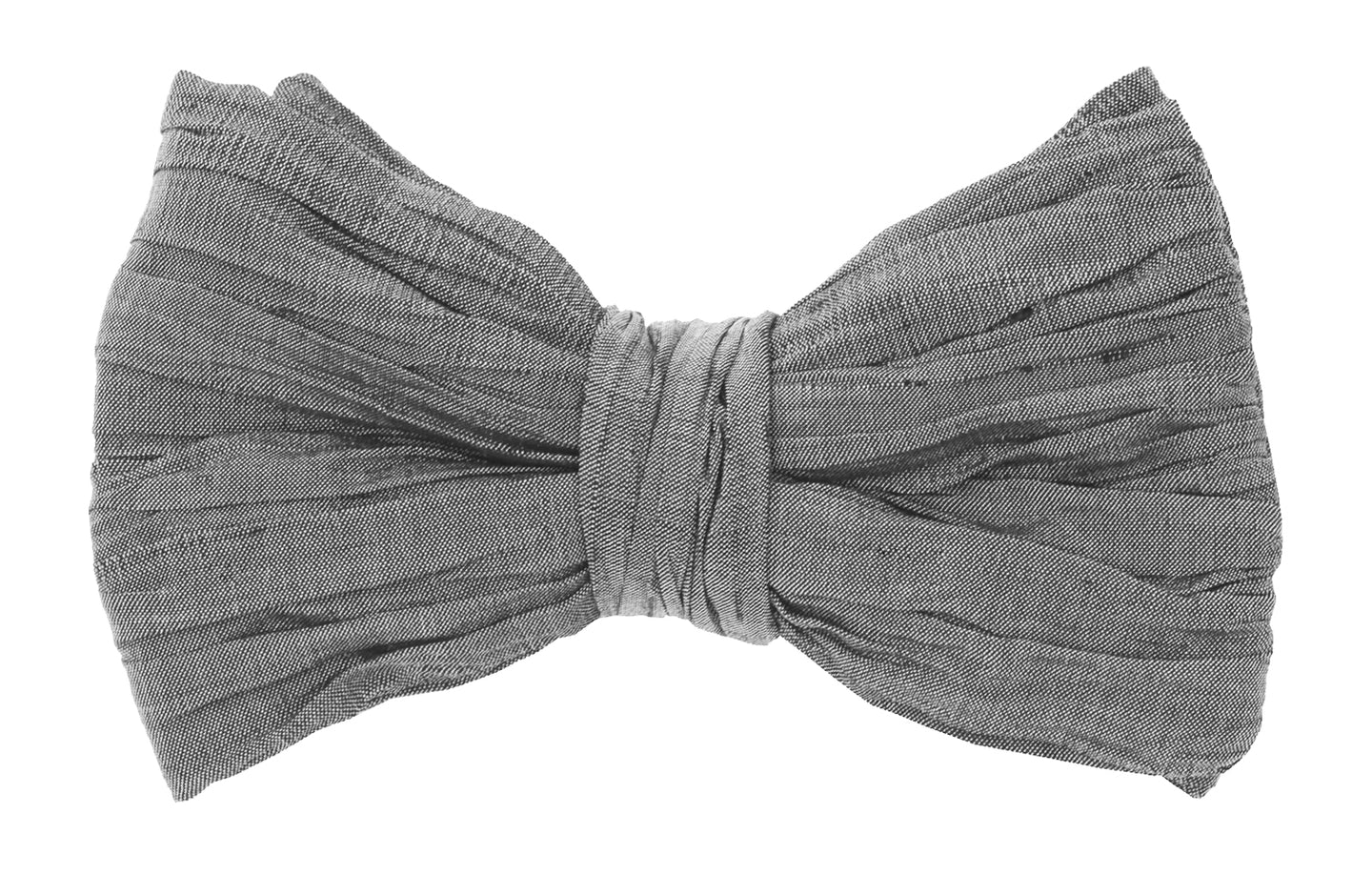 Mimi Fong Silk Pleated Bow Tie in Charcoal