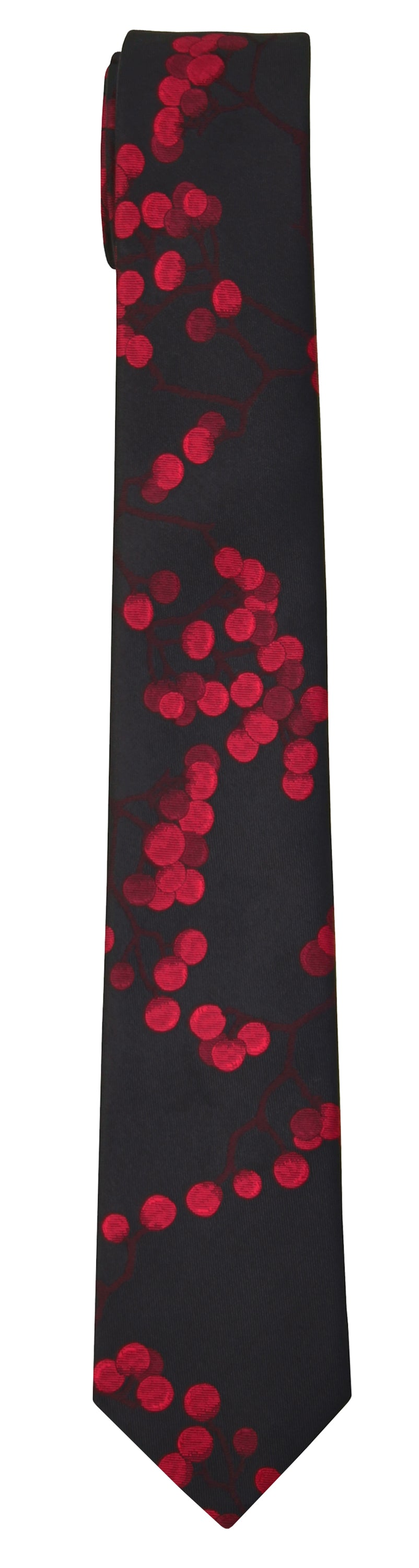 Mimi Fong Berries Tie in Black & Red