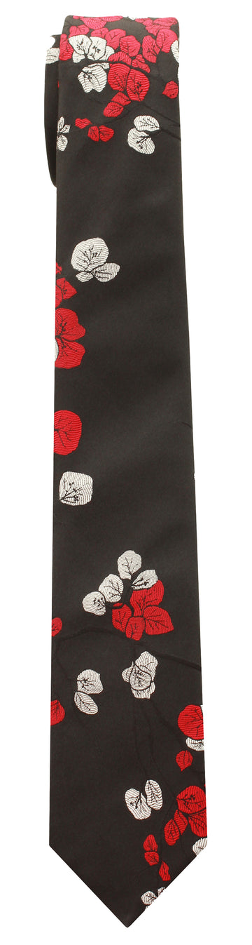 Mimi Fong Bougainvillea Tie in Black & Red
