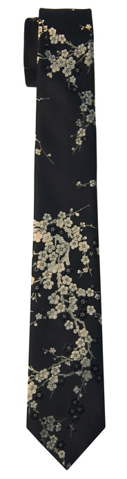Mimi Fong Cherry Blossom Tie in Black & Gold