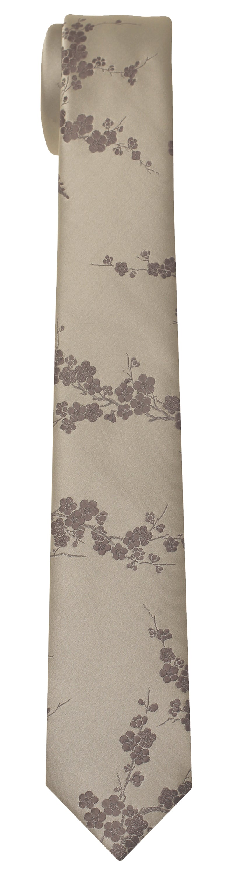 Mimi Fong Cherry Blossoms Tie in Pewter