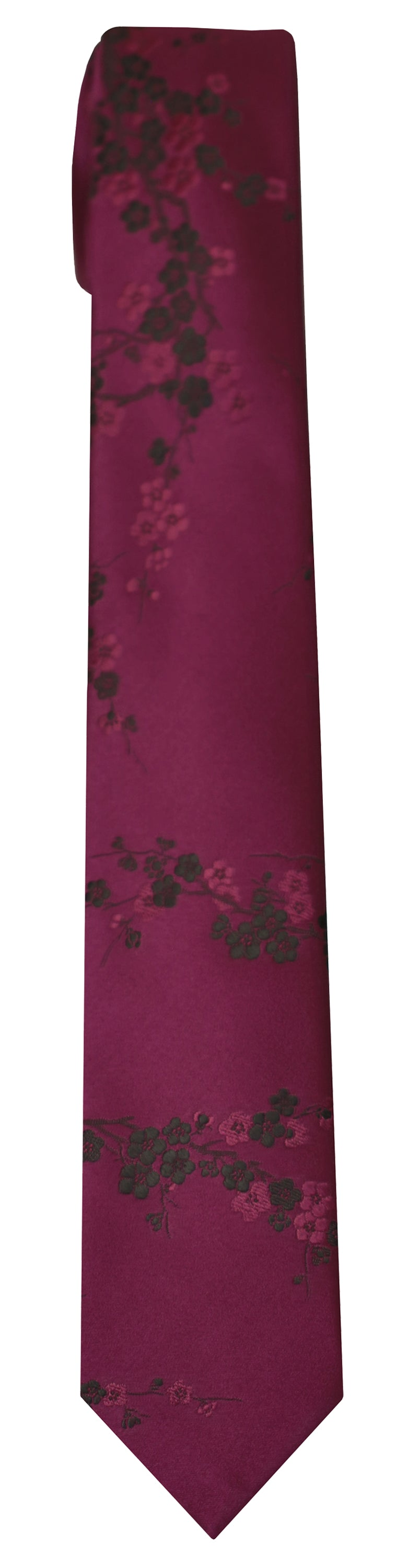 Mimi Fong Cherry Blossoms Tie in Plum