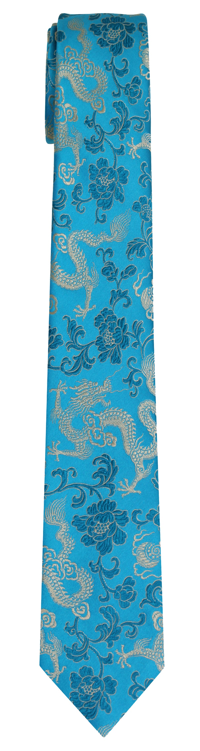 Mimi Fong Dragon Tie in Aqua