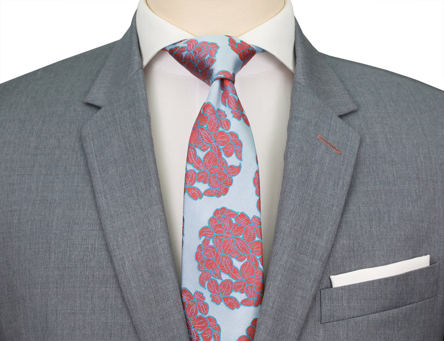 Mimi Fong Hydrangea Tie in Cool Chili