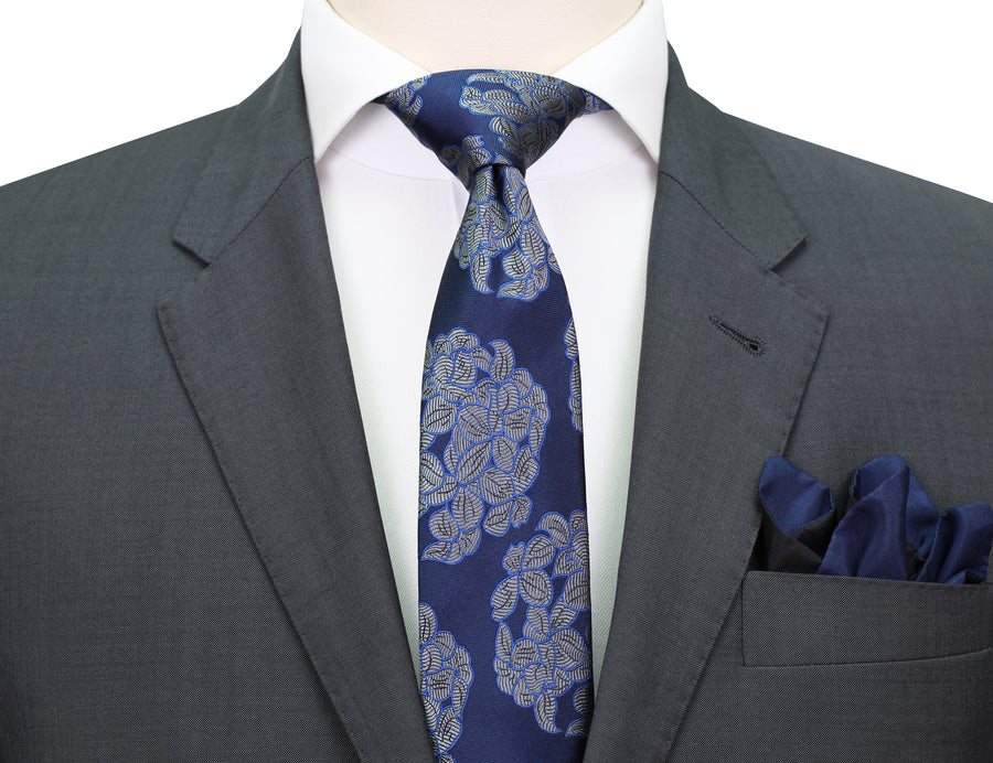 Mimi Fong Hydrangea Tie in Midnight