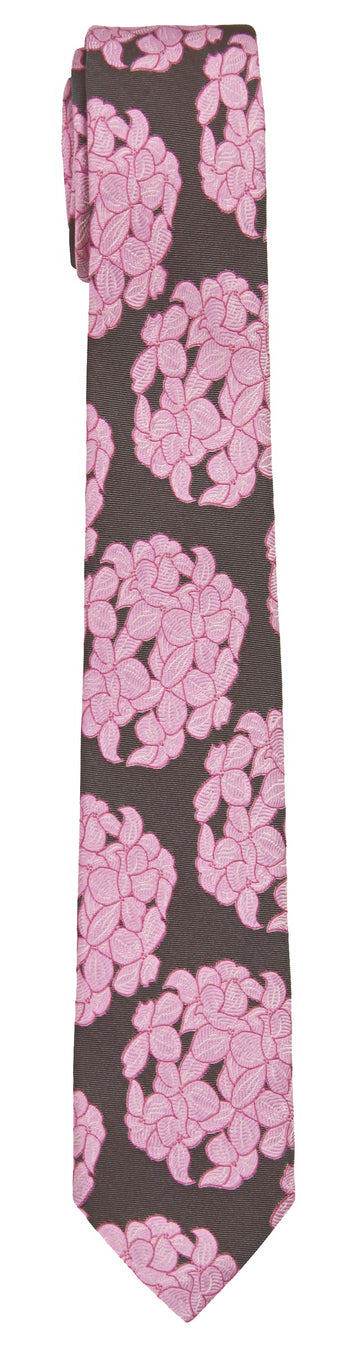 Mimi Fong Hydrangea Tie in Pink Chocolate