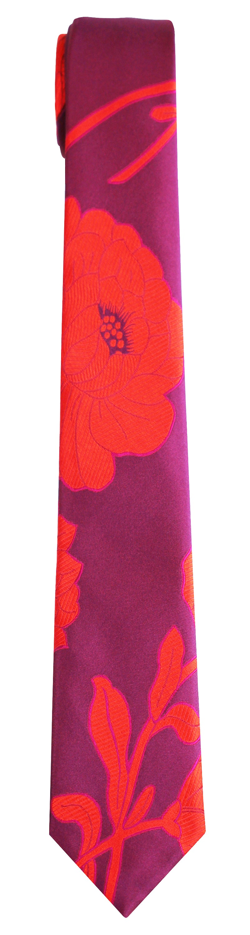 Mimi Fong Large Flower Tie in Sangria