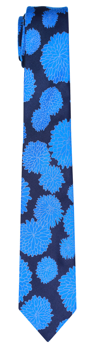 Mimi Fong Mums Tie in Black & Blue
