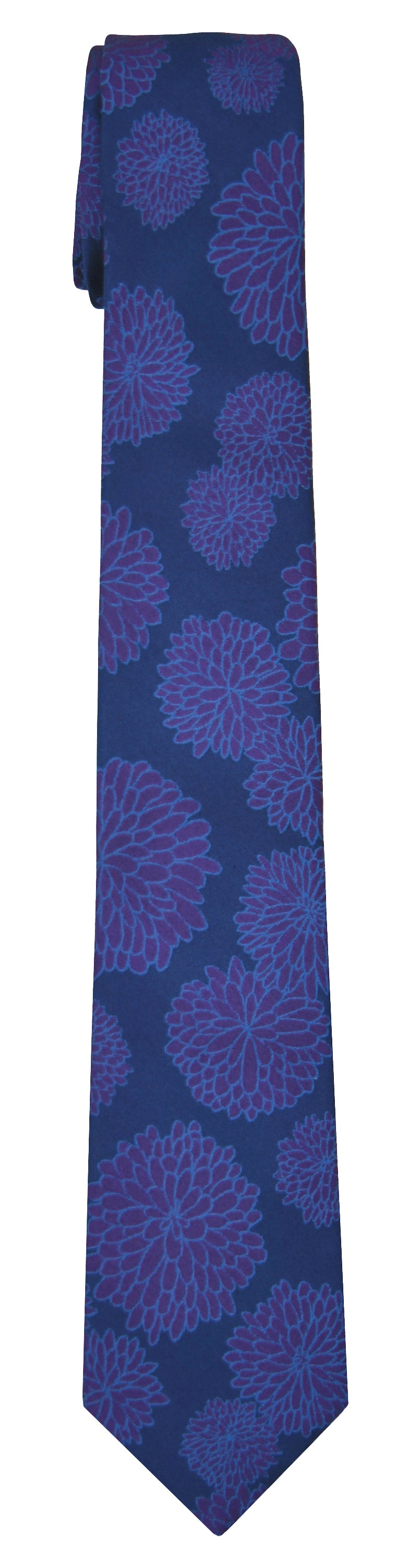 Mimi Fong Mums Tie in Royal & Purple