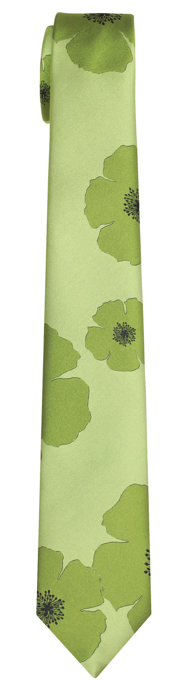 Mimi Fong Poppies Tie in Green