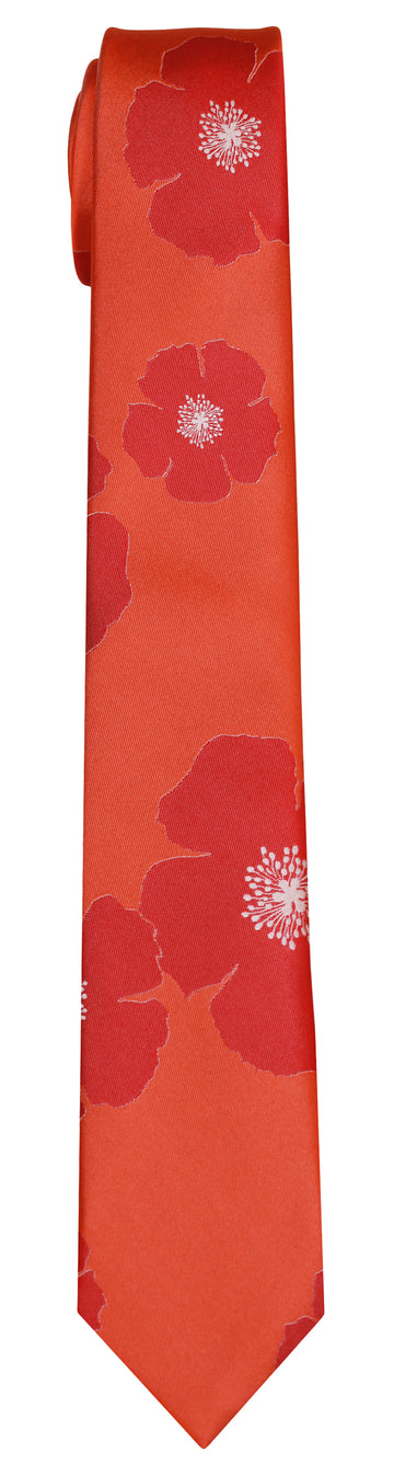 Mimi Fong Poppies Tie in Orange