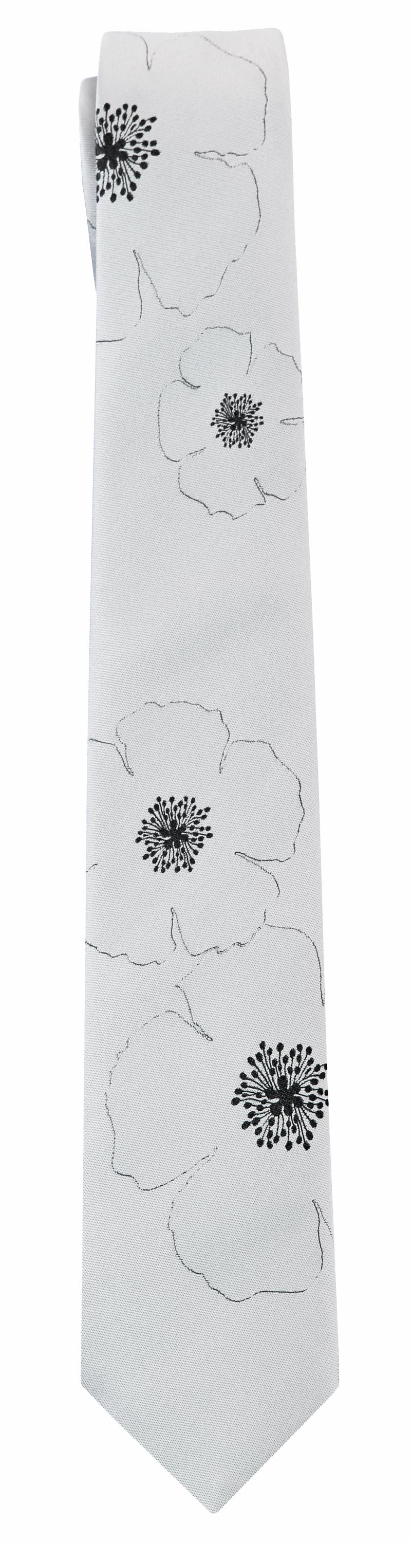 Mimi Fong Poppies Tie in Silver