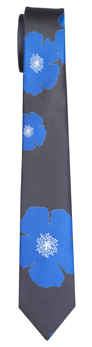Mimi Fong Poppies Tie in Storm