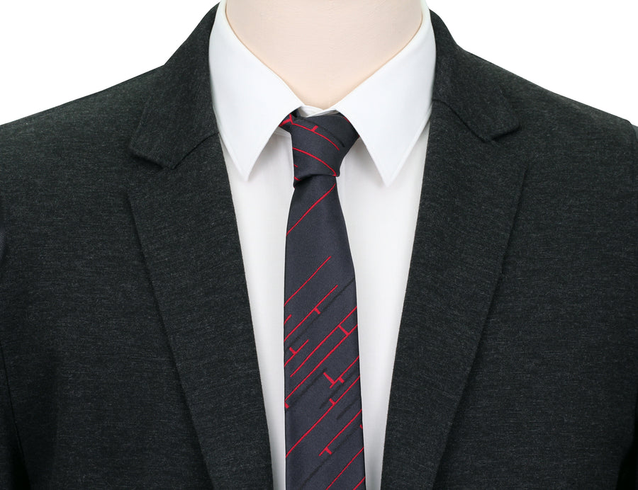 Mimi Fong Skinny Linked Tie in Charcoal