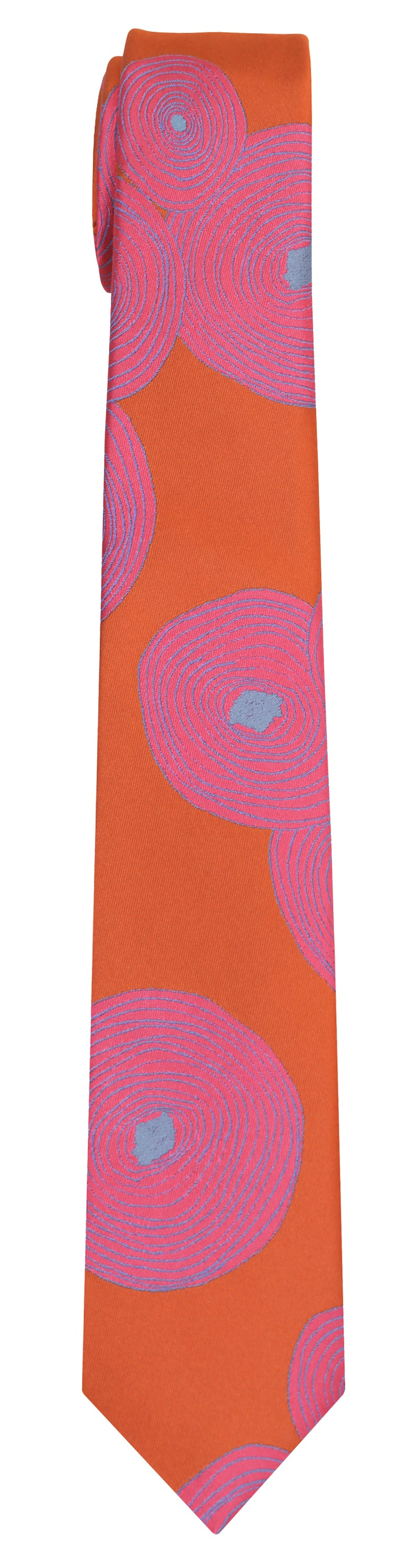 Mimi Fong Tree Rings Tie in Orange